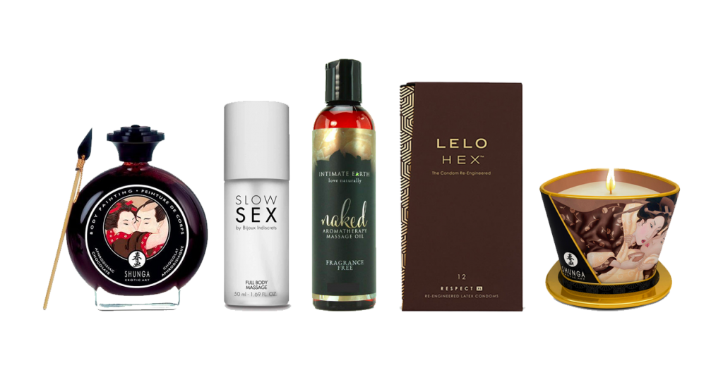 Vegan wellbeing oils and condoms