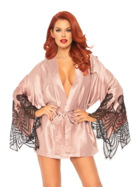 LEG AVENUE SATIN ROBE WITH FLARED SLEEVES