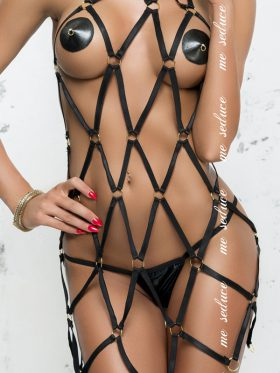 ME SEDUCE ANITA STRAPPY BLACK DRESS