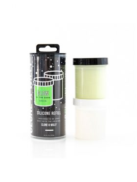 CLONE-A-WILLY GLOW IN THE DARK GREEN SILICONE REFILL