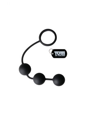TOM OF FINLAND SILICONE COCK RING WITH 3 WEIGHTED ANAL BALLS