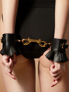 ZALO & UPKO DOLL DESIGNER COLLECTION LEATHER LACE-LIKE HANDCUFFS