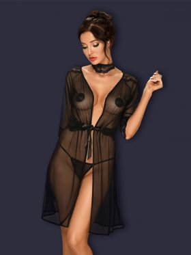 OBSESSIVE LUCITA BLACK SEE-THROUGH PEIGNOIR