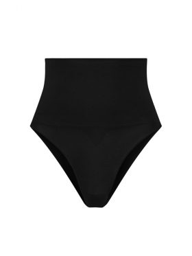 BYE BRA SEAMLESS BLACK HIGH WAIST THONG